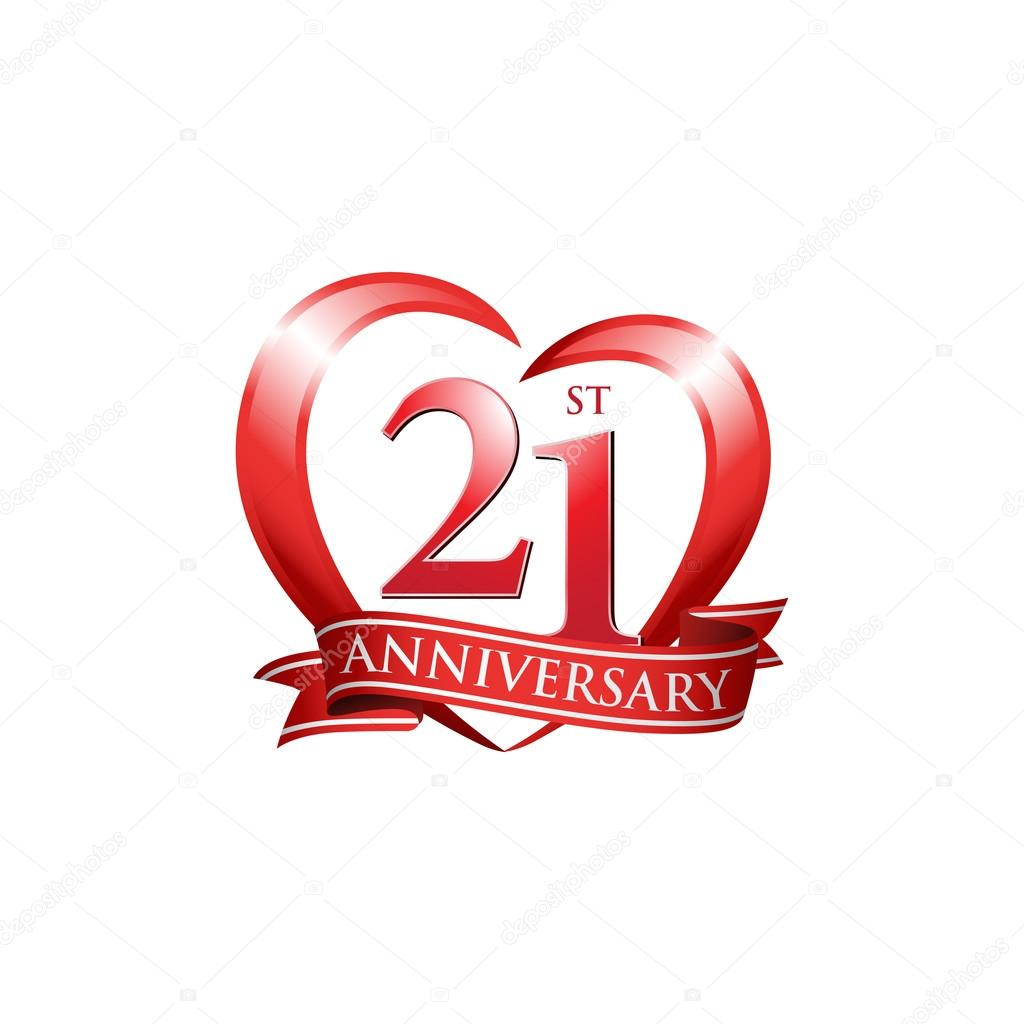 21st anniversary logo red heart stock vector  u00a9 ariefpro 25 anniversary free vector 25th anniversary logo vector free download