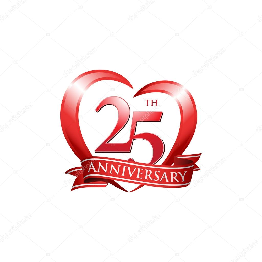 25th anniversary logo red heart stock vector  u00a9 ariefpro 25th wedding anniversary clip art free silver wedding anniversary clip art