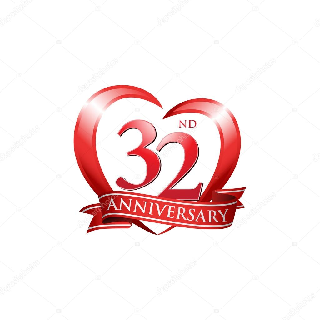 32nd Anniversary Logo Red Heart Stock Vector