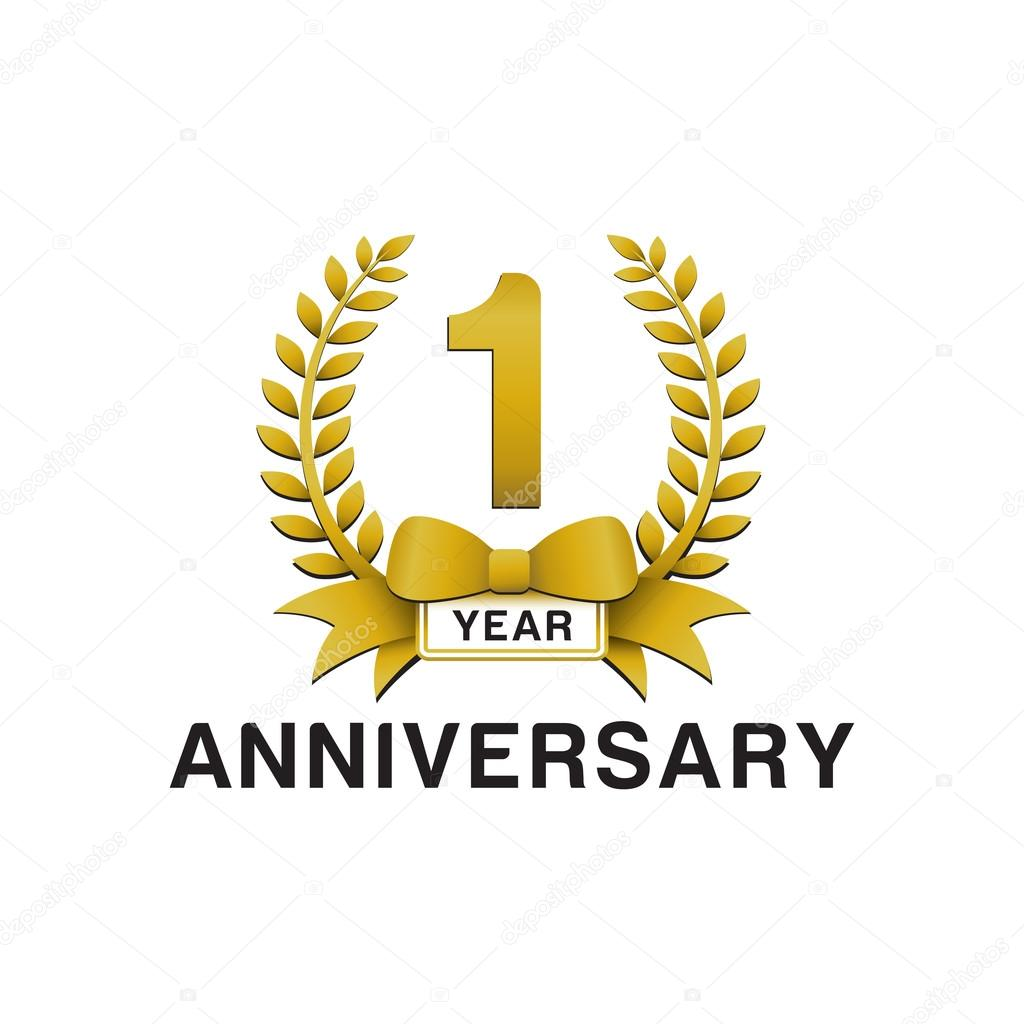 St anniversary golden wreath logo stock vector