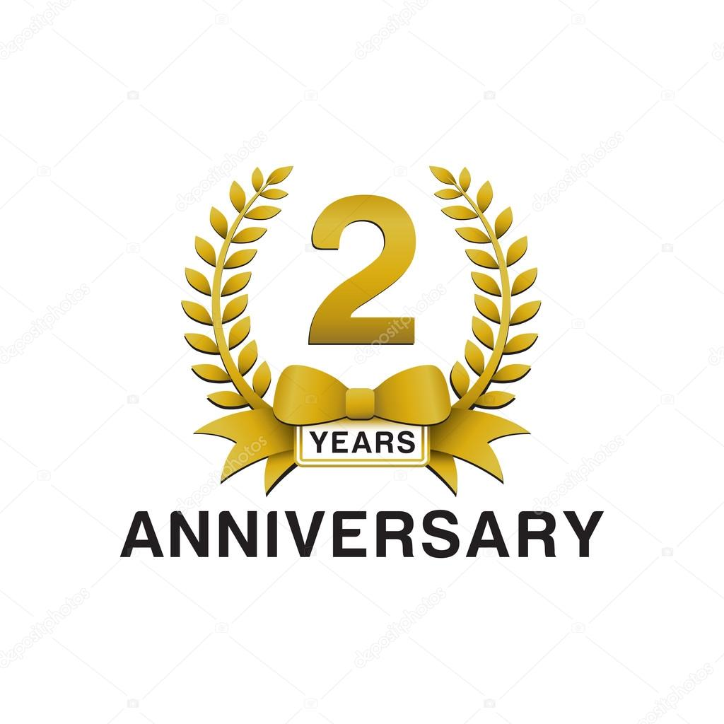 2nd anniversary golden wreath logo stock vector ariefpro 86352424