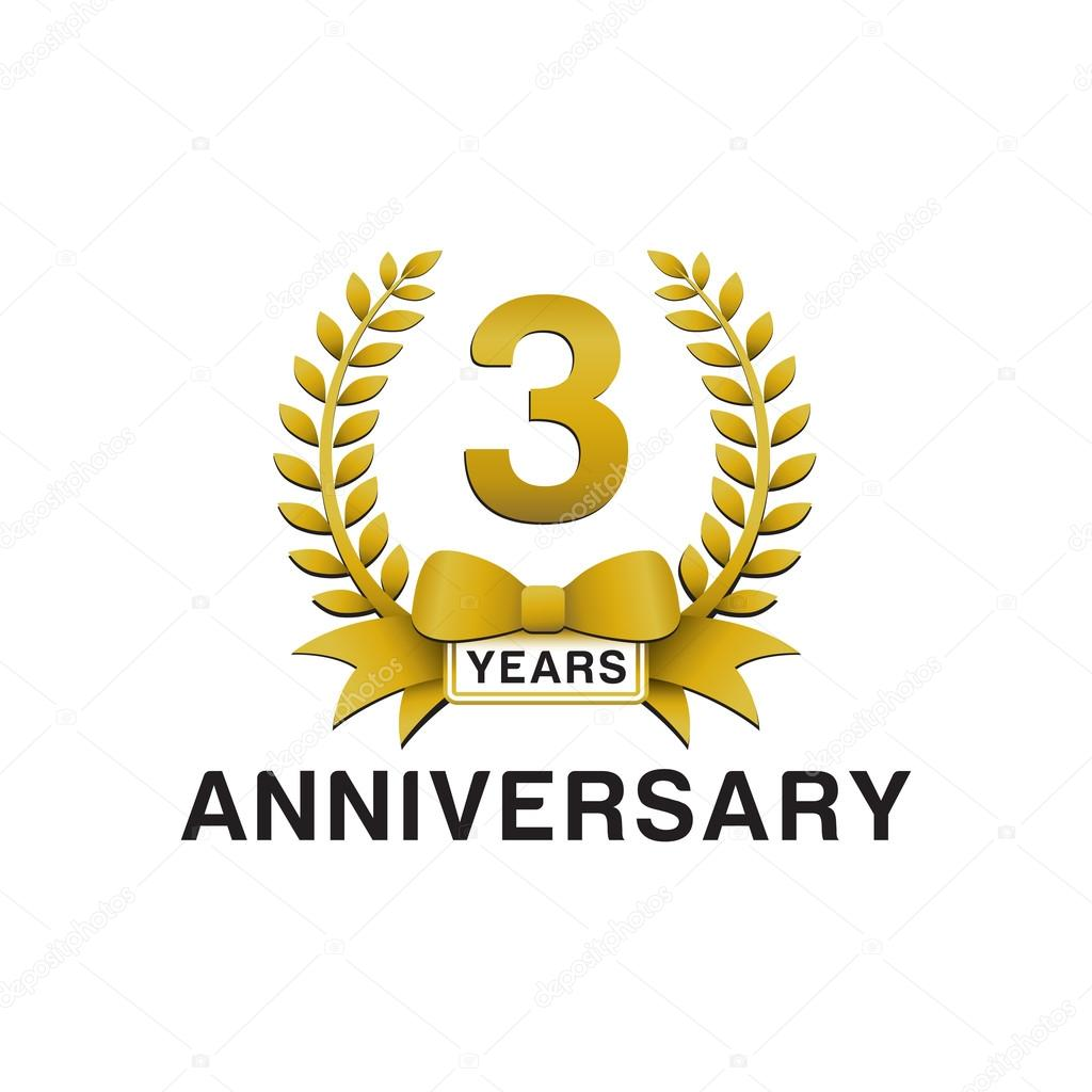 3rd Anniversary Golden Wreath Logo Stock Vector