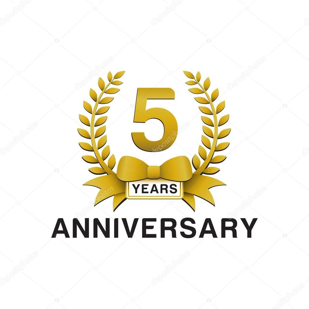 5th Year Anniversary: 5th Anniversary Golden Wreath Logo