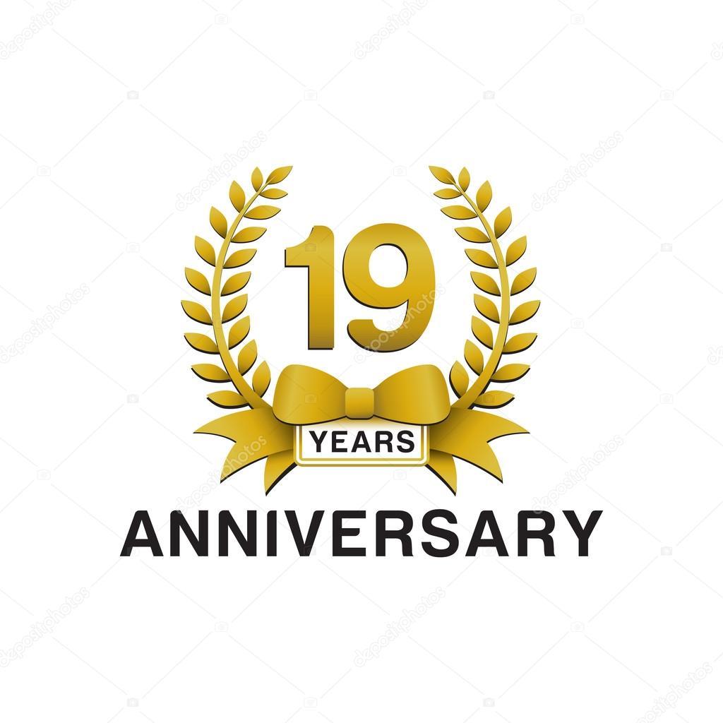 19th anniversary golden wreath logo stock vector