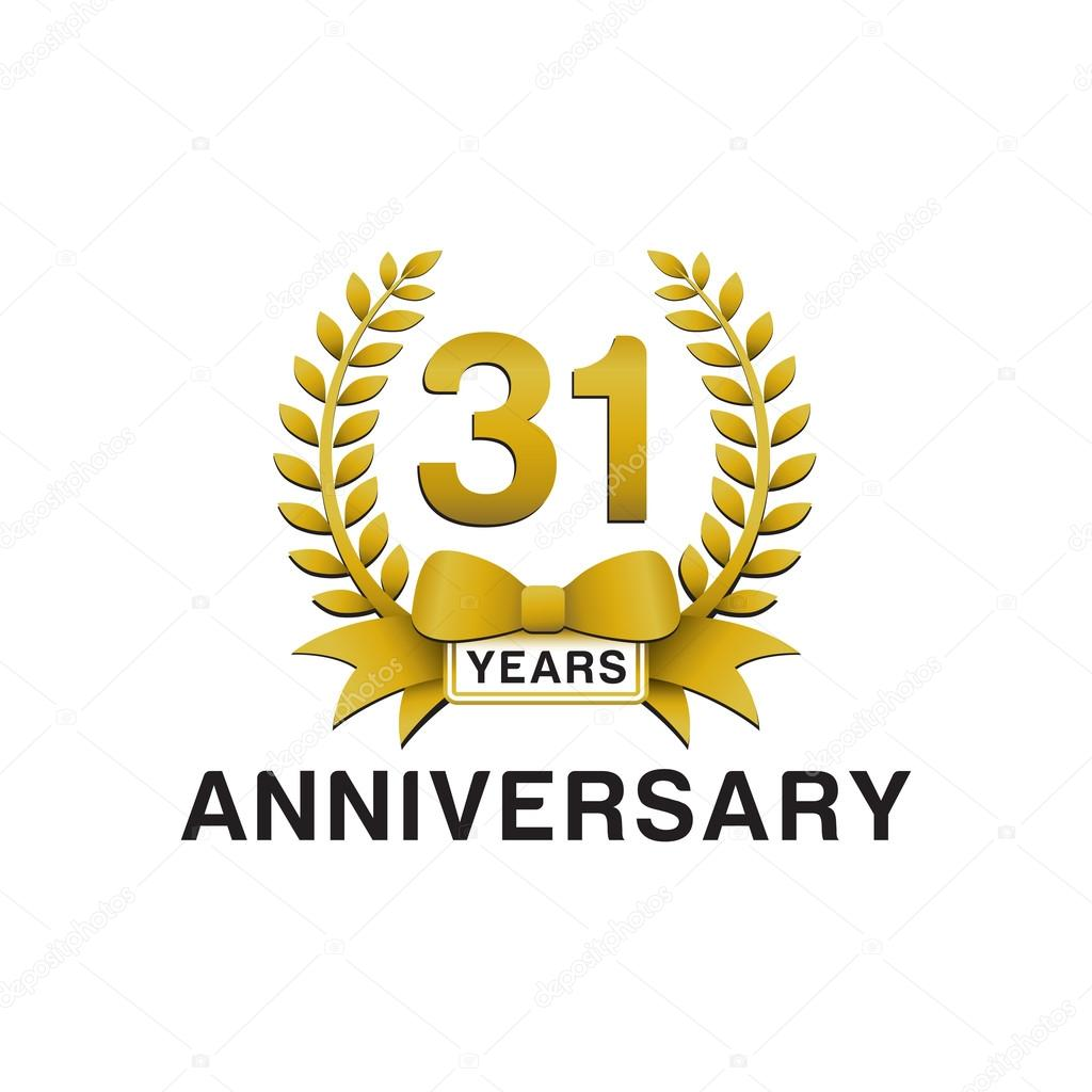 31st Anniversary Golden Wreath Logo Stock Vector 55th Wedding Graphics 65th Color