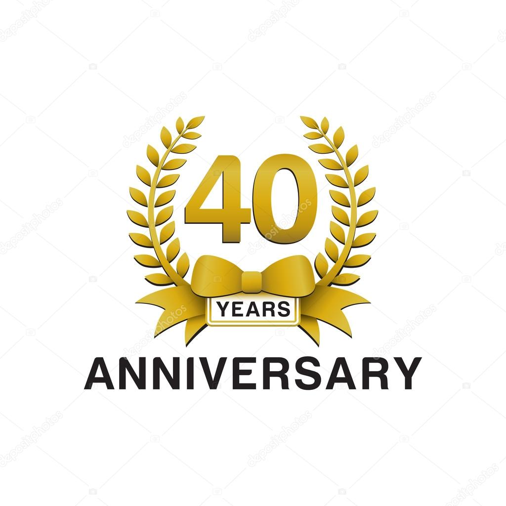 40 Jahriges Jubilaum Goldener Kranz Logo Stockvektor C Ariefpro
