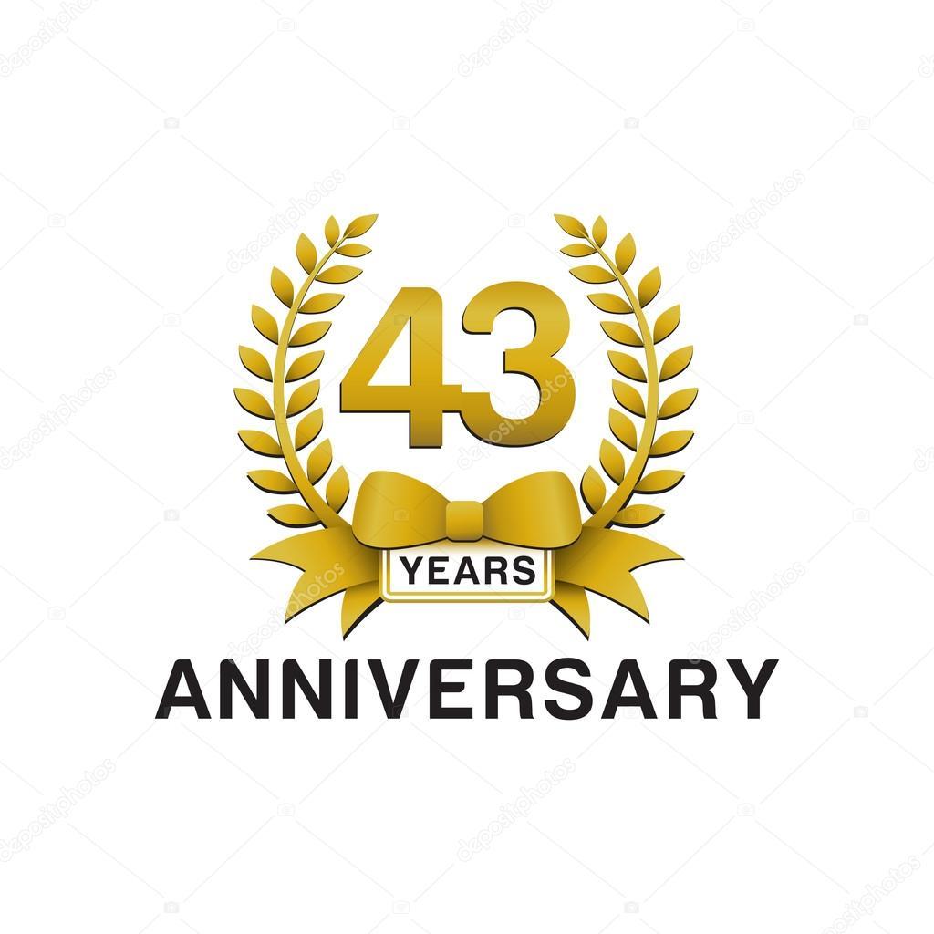43rd anniversary golden wreath logo stock vector ariefpro 86352742