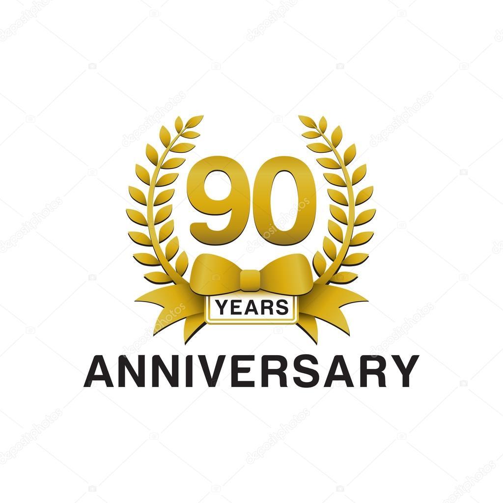 90th anniversary golden wreath logo stock vector ariefpro 86353256