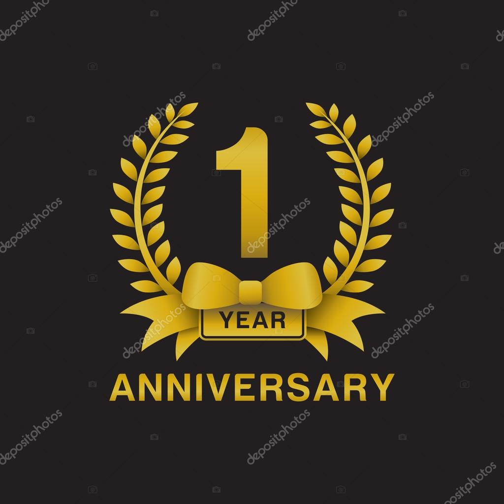 St anniversary golden wreath logo black background