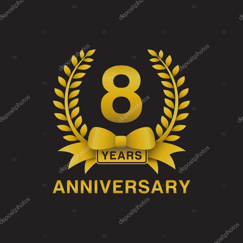 8th anniversary golden wreath logo black background stock vector