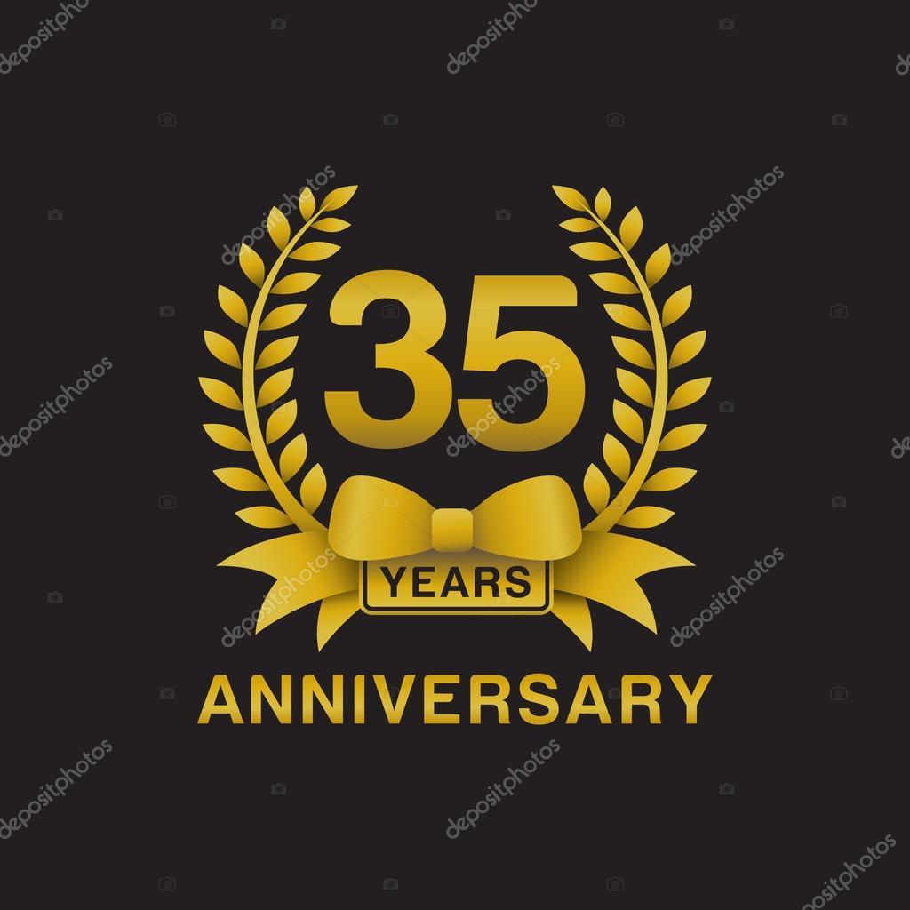 35e Verjaardag Gouden Krans Logo Zwarte Achtergrond Stockvector