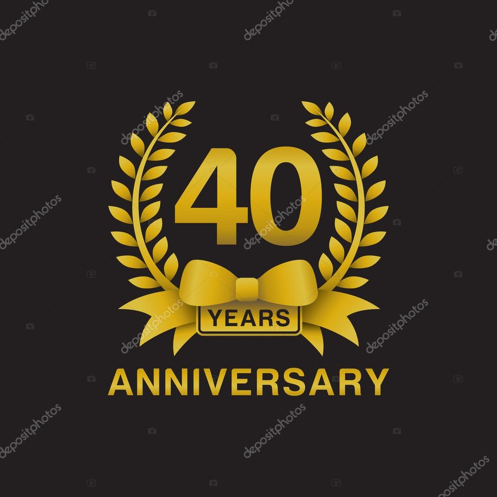 40th anniversary golden wreath logo black background ...