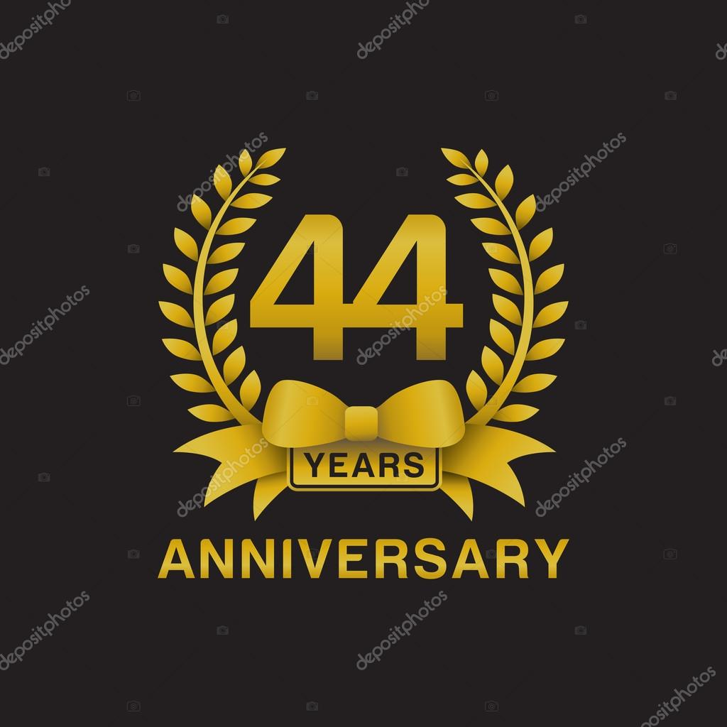 44th anniversary golden wreath logo black background stock 44th anniversary golden wreath logo black background stock vector biocorpaavc Gallery
