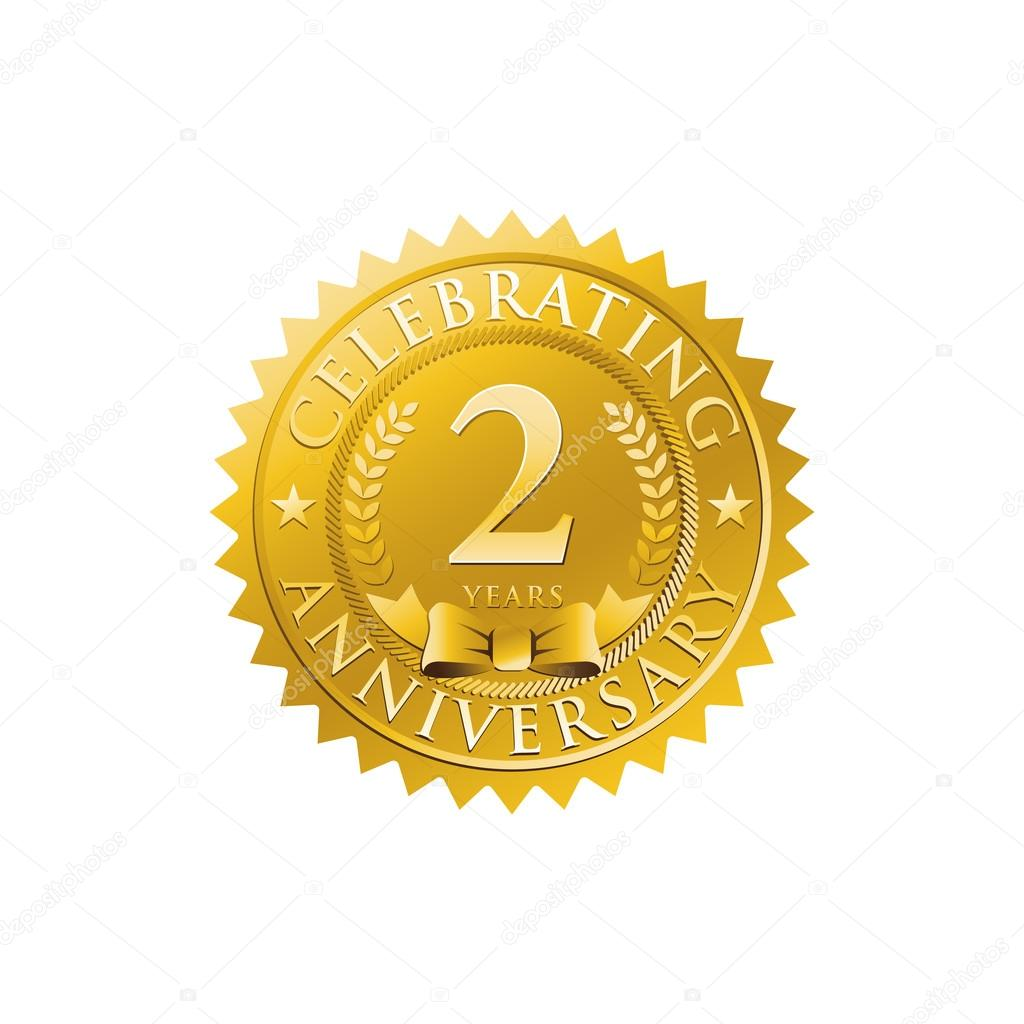 Nd anniversary golden badge logo stock vector