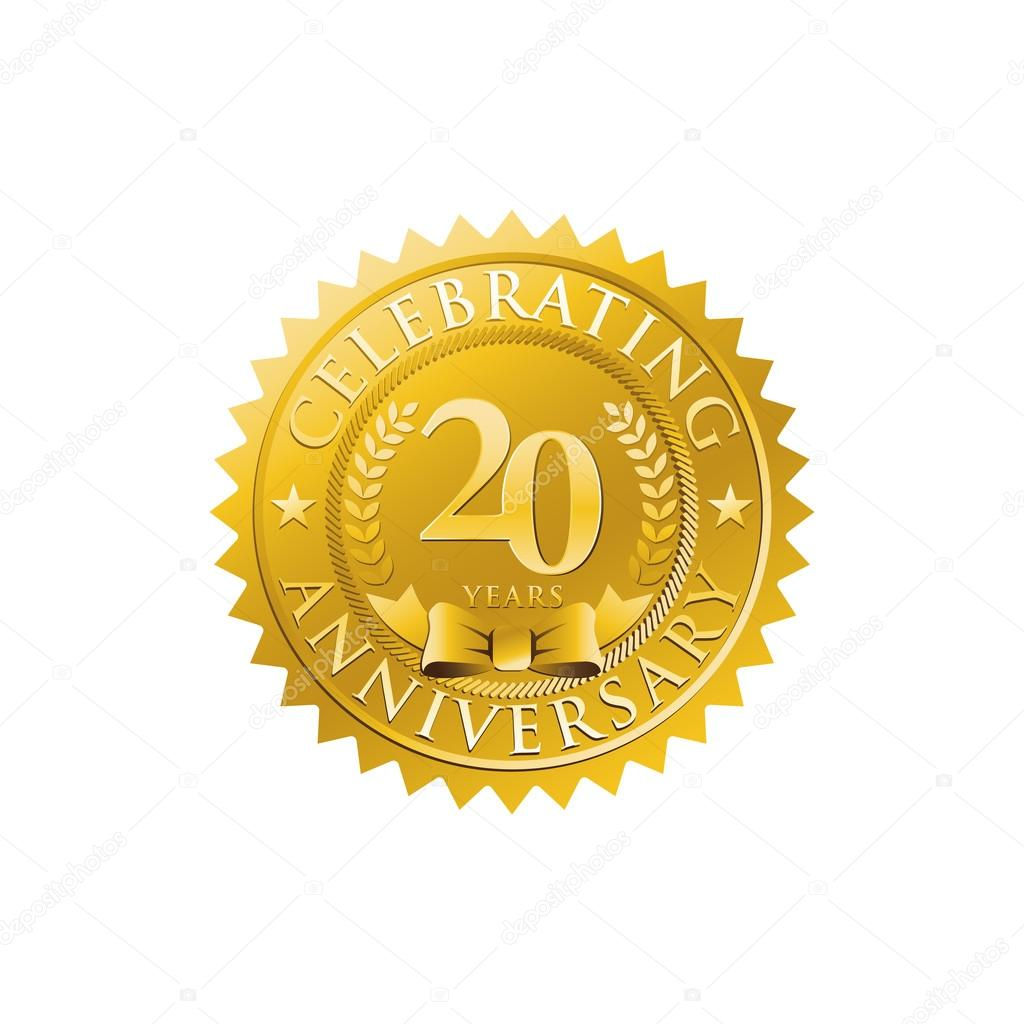 20th anniversary golden badge logo stock vector ariefpro 86381672