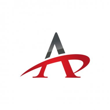 A red initial company swoosh logo