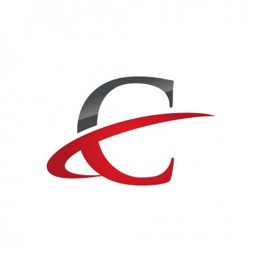 C red initial company swoosh logo