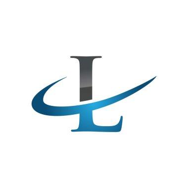 L blue initial company swoosh logo