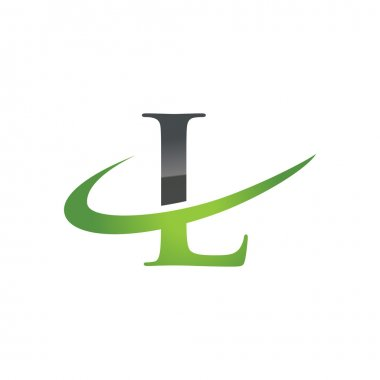 L green initial company swoosh logo