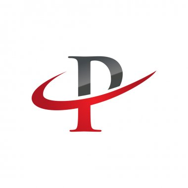 P red initial company swoosh logo