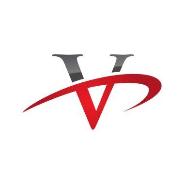 V red initial company swoosh logo