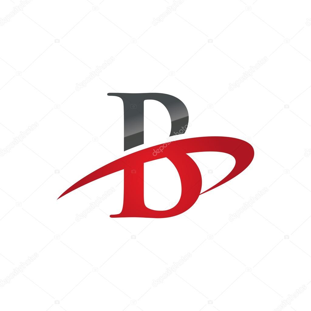 B Red Initial Company Swoosh Logo Stock Vector C Ariefpro 86733636