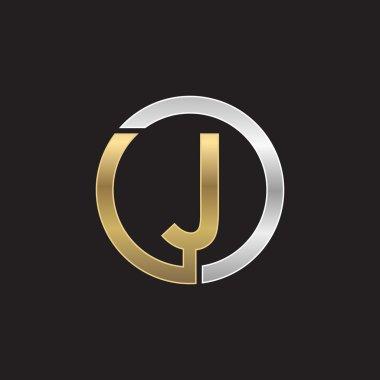J initial circle company or JO OJ logo black background