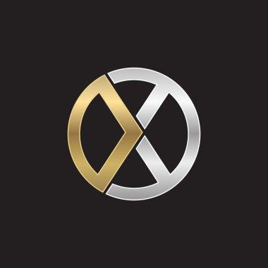 X initial circle company or XO OX logo black background