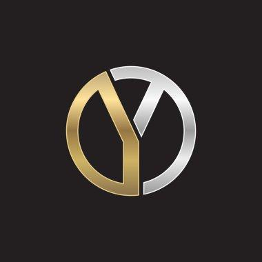 Y initial circle company or YO OY logo black background