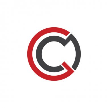 C initial circle company or CO OC logo red