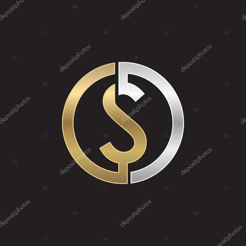 S Initial Circle Company Or SO OS Logo Black Background Stock Vector