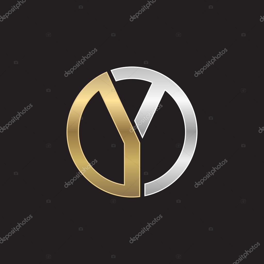 y initial circle company or yo oy logo black background stock