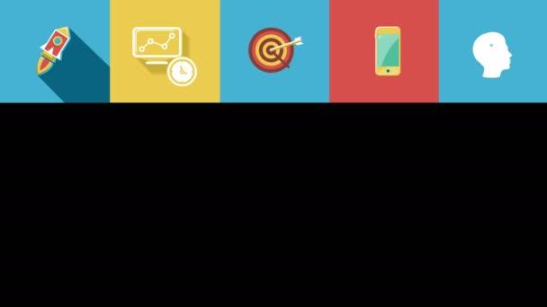 Podnikání a spuštění ploché ikony nastavit. 4k.
