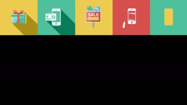 Obchodní a prodejní ploché ikony nastavit. 4k