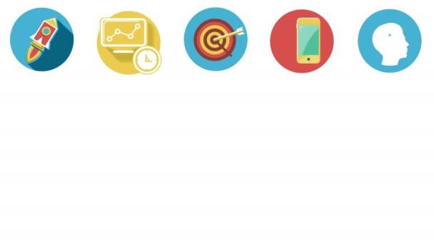 Unternehmen und Start-ups flache Symbole gesetzt. 4k.