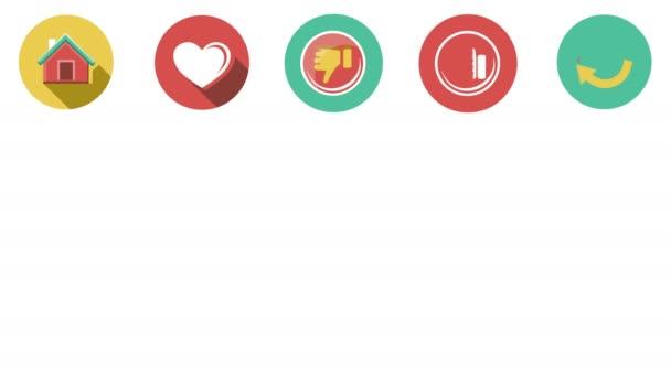 Internetu a webových sada ploché ikony. 4k.