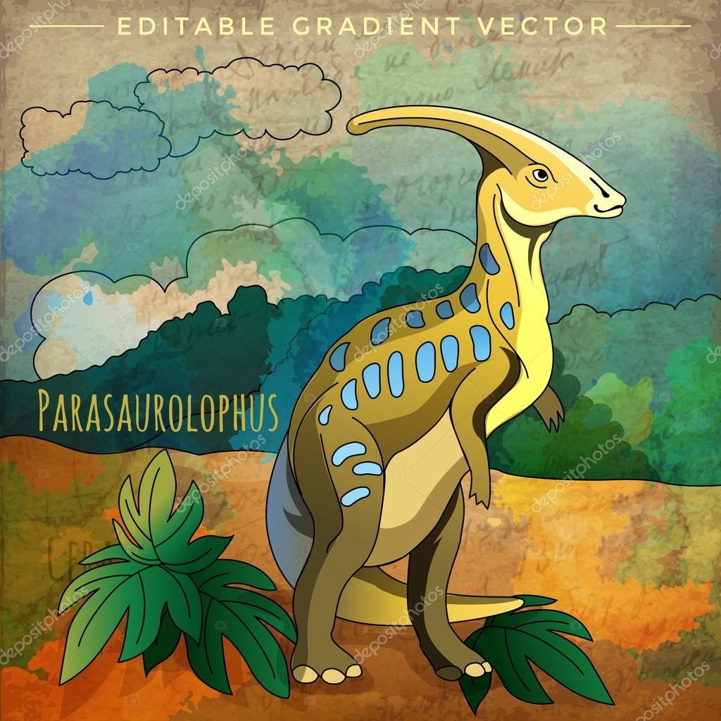 Dinosaur In The Habitat Vector Illustration Of Parasauroloph