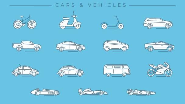 Auta a vozidla linky ikony na alfa kanálu.