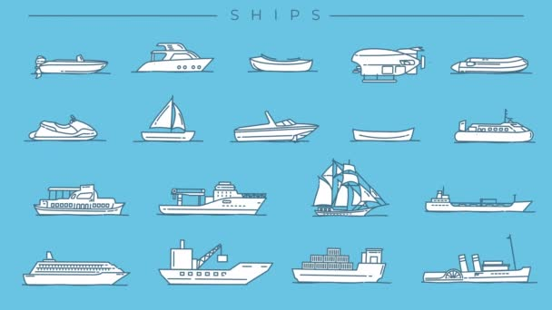 Collection of Ships line icons on the alpha channel.