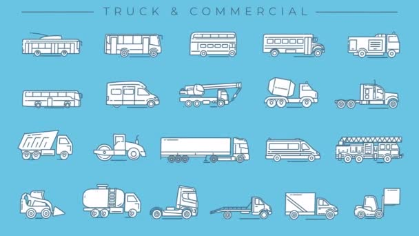 Truck and Commercial Transport line icons on the alpha channel.