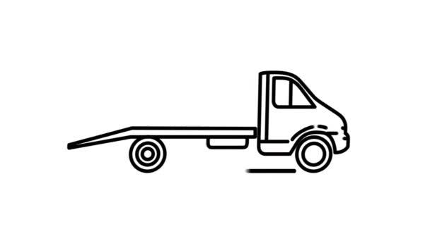 Abschleppwagen Liniensymbol auf dem Alpha-Kanal