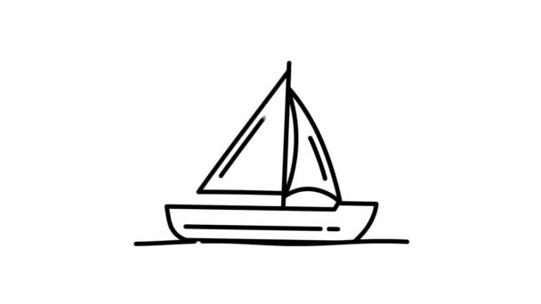 Sailing Yacht line icon on the Alpha Channel