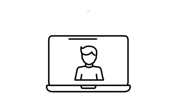 Laptop Video Chat vonal ikon az Alpha Channel