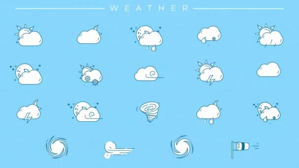Eine Reihe von Wetterlinien-Symbolen mit blauem Umriss und weißer Füllung.