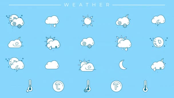 Eine Sammlung von Symbolen mit blauem Umriss und weißer Füllung zum Thema Wetter.