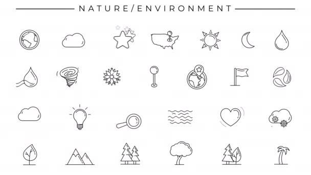 Černobílé animované ikony na téma Příroda a životní prostředí.