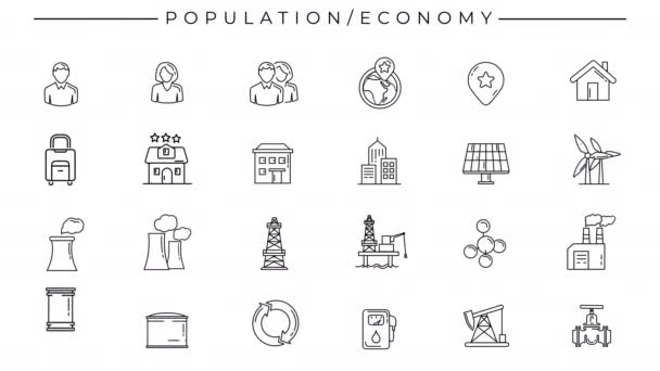 Black-white animated icons on the theme of Population and Economy.