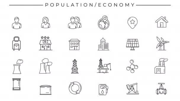 Černobílé animované ikony na téma Populace a ekonomie.
