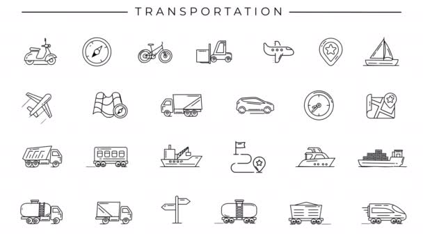 Black-white animated icons on the theme of Transportation.