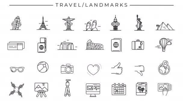 Černobílé animované ikony na téma Cestování a památky.